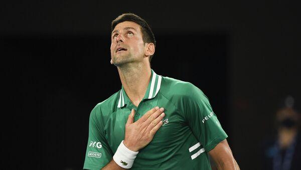 Новак Ђоковић после победе над Сашом Зверевим у четвртфиналу Аустралијан опена - Sputnik Србија