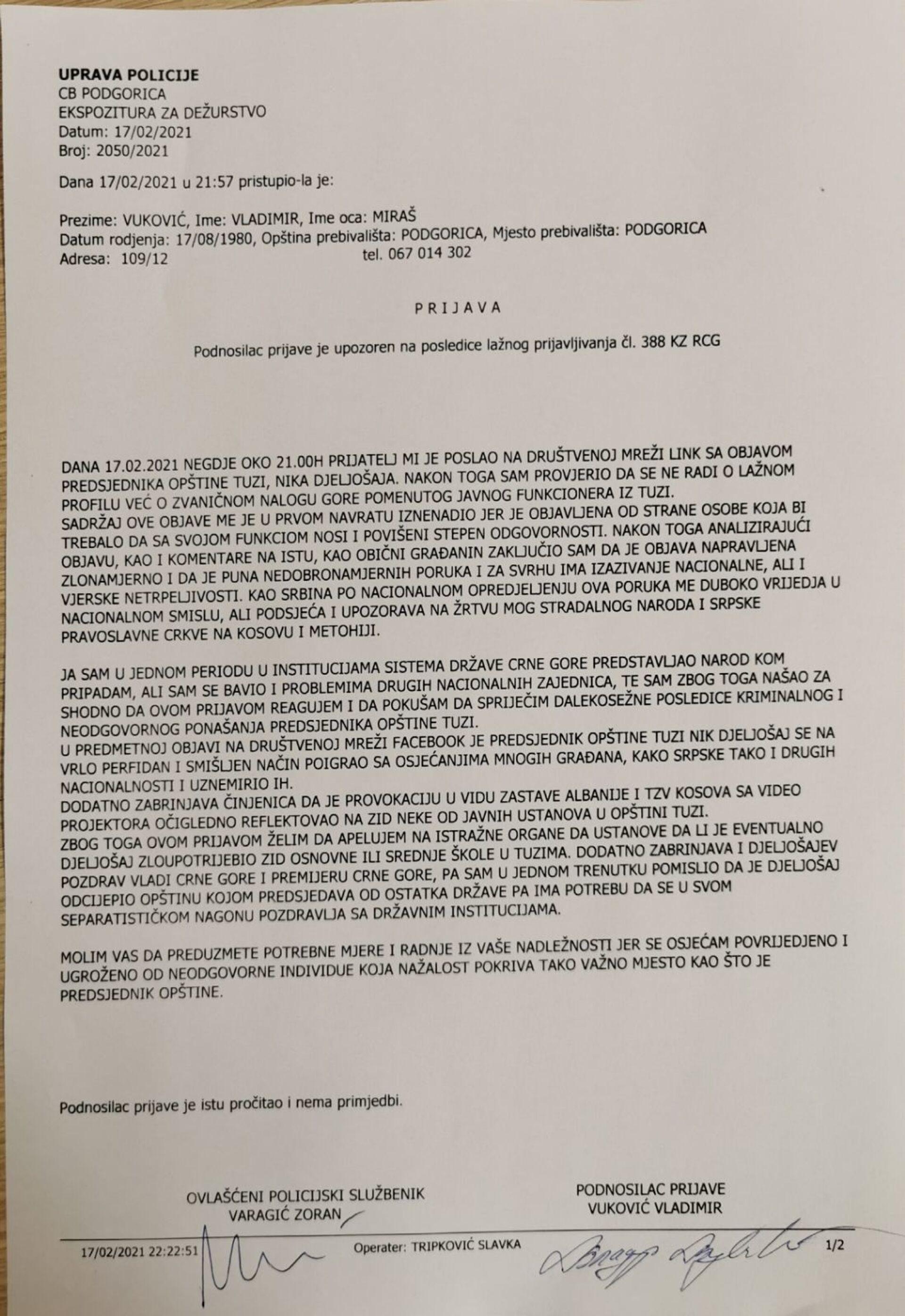"""Provokacija iz Tuzi: Predsednik opštine """"pozdravio"""" Krivokapića zastavama Albanije i tzv. Kosova - Sputnik Srbija, 1920, 17.02.2021"""