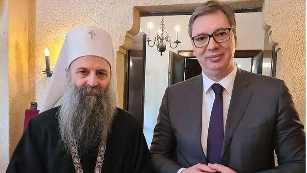 Aleksandar Vučić i patrijarh Porfirije - Sputnik Srbija