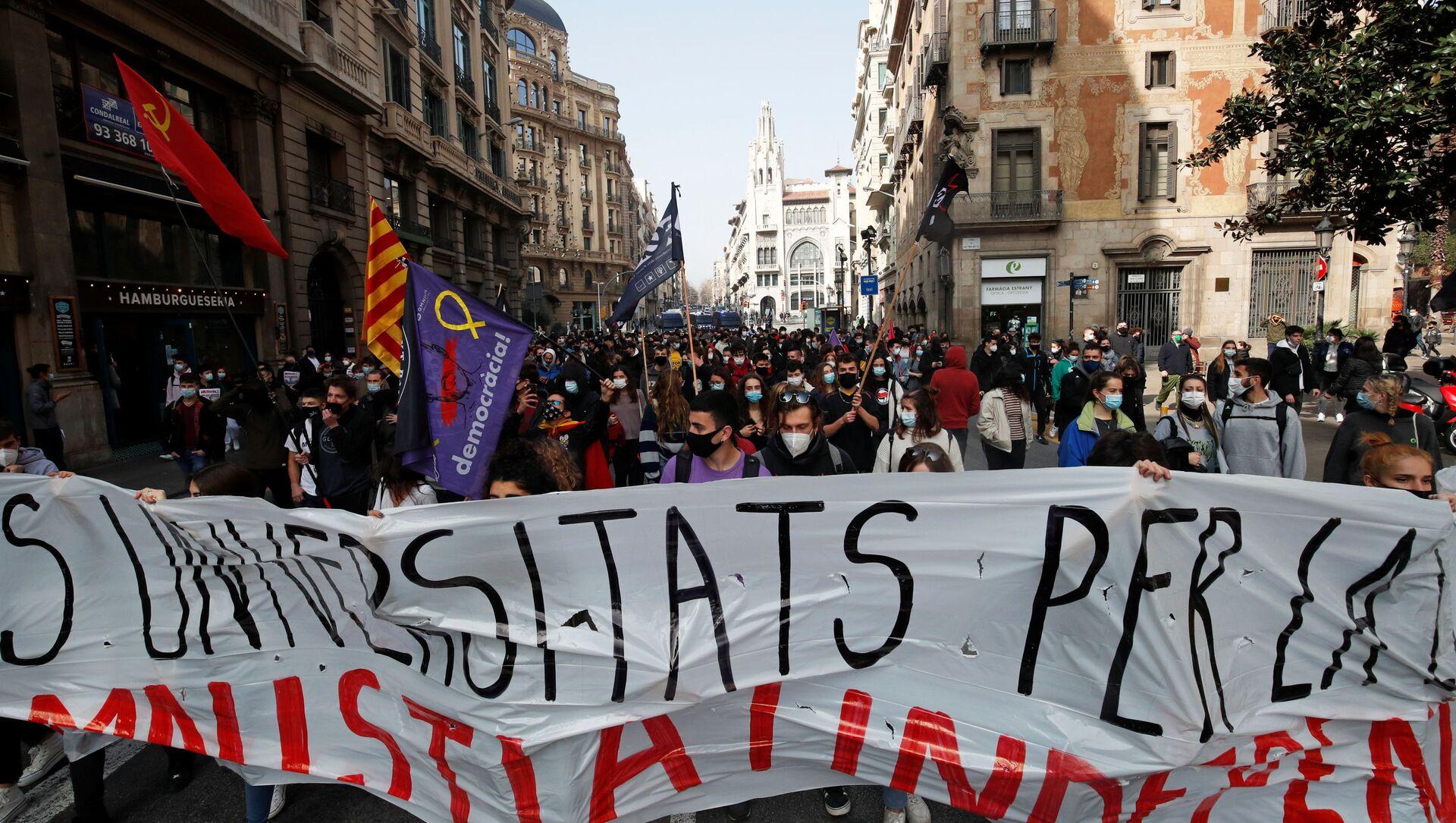 Protesti u Barseloni u znak podrške uhapšenom reperu - Sputnik Srbija, 1920, 27.02.2021