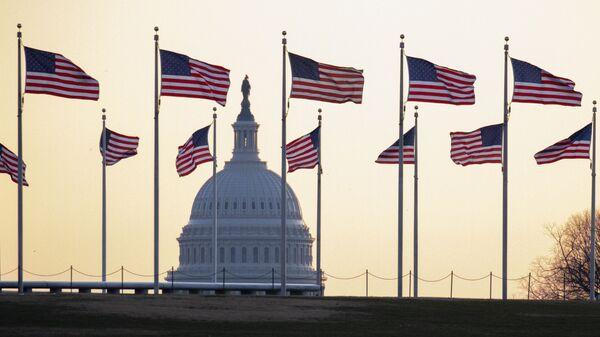 Amerikanskie flagi na fone Kapitoliя v Vašingtone, SŠA - Sputnik Srbija