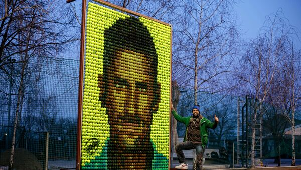 Portret Novaka Đokovića sačinjen od teniskih loptica (umetnik Andrej Josifovski) - Sputnik Srbija