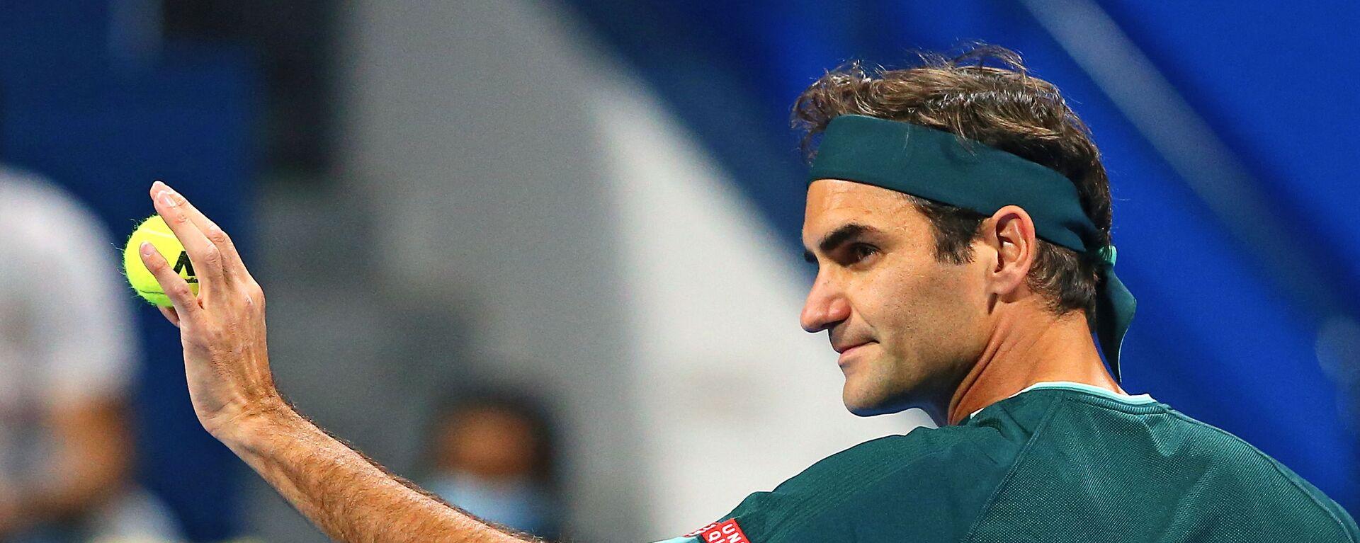 Rodžer Federer tokom meča u Dohi protiv Danijela Evansa - Sputnik Srbija, 1920, 18.05.2021
