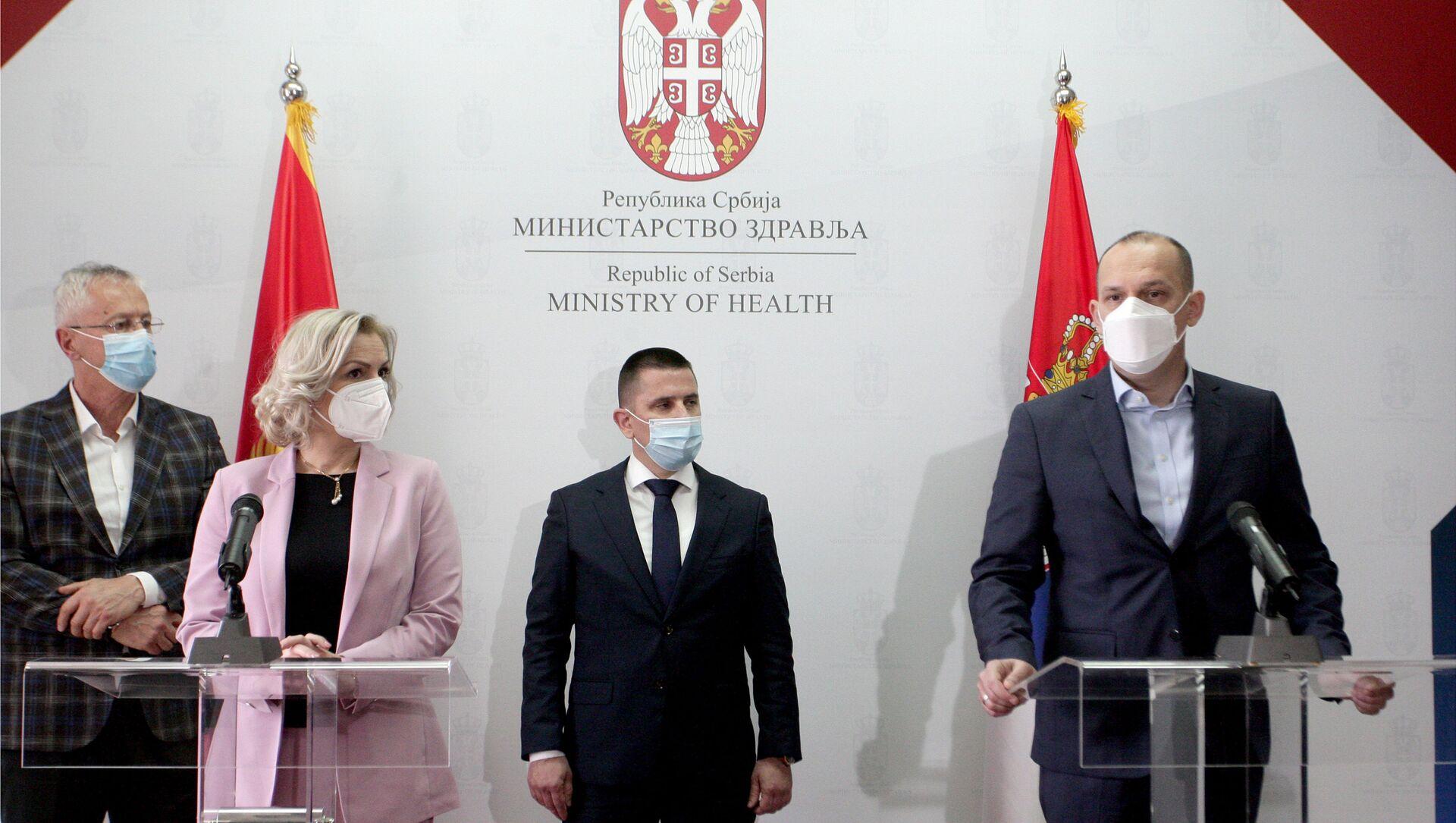 Ministri zdravlja Srbije i Crne Gore Zlatibor Lončar i Jelena Borovinić Bojović - Sputnik Srbija, 1920, 25.03.2021