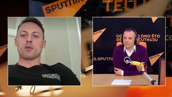 Srpski fudbaler Nemanja Matić i novinar Sputnjika Miljan Milićević - Sputnik Srbija