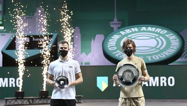 Andrej Rubljov i Marton Fučovič na turniru u Roterdamu - Sputnik Srbija