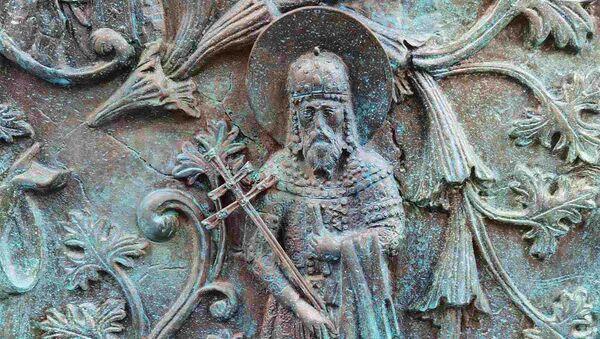 Рестаурирани део на споменику Стефану Немањи на Савском тргу - Sputnik Србија
