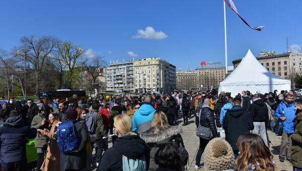 Протест фриленсера испред Скупштине - Sputnik Србија
