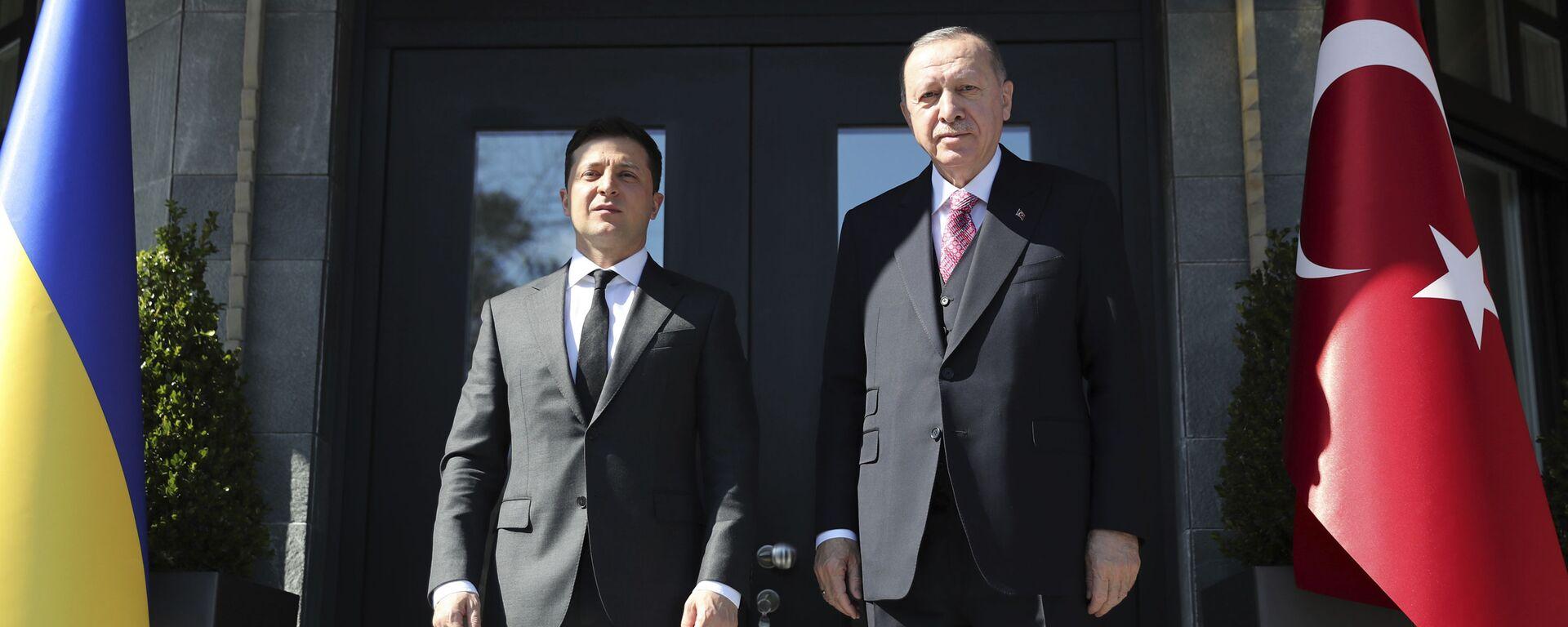 Predsednici Ukrajine i Turske, Vladimir Zelenski i Redžep Tajip Erdogan, na sastanku u Istanbulu - Sputnik Srbija, 1920, 11.04.2021