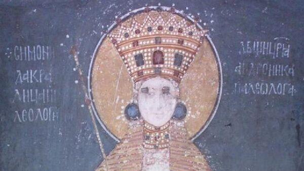 Freska srpske kraljice Simonide Paleolog, supruge kralja Milutina, u manastiru Gračanica - Sputnik Srbija