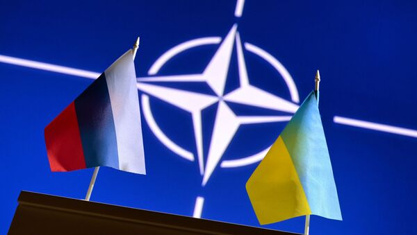 Zastave Rusije i Ukrajine ispred logoa NATO-a - Sputnik Srbija