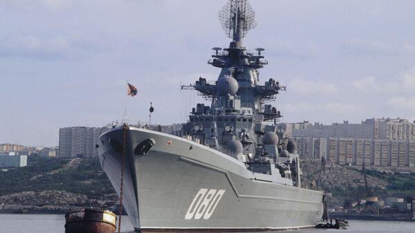 Тешка нуклеарна ракетна крстарица Адмирал Нахимов у бази Северне флоте Русије  - Sputnik Србија