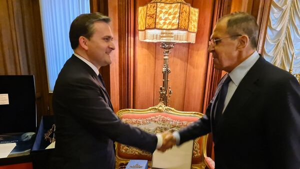 Ministri spoljnih poslova Srbije i Rusije Nikola Selaković i Sergej Lavrov - Sputnik Srbija