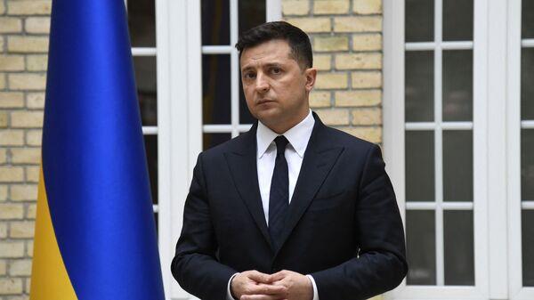 Председник Украјине Владимир Зеленски на конференцији испред Јелисејске палате - Sputnik Србија