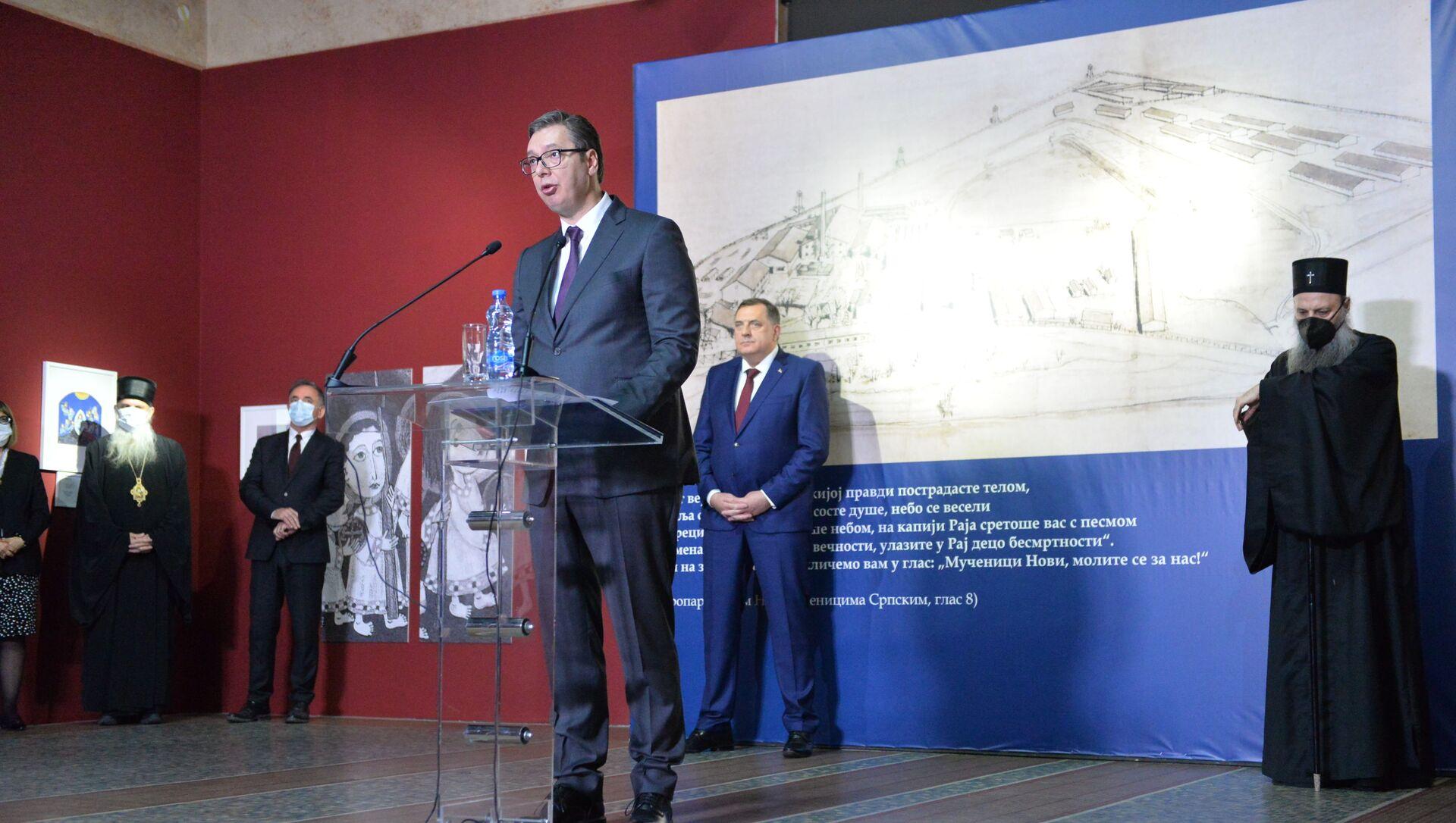 Aleksandar Vučić na otvaranju izložbe posvećene Jasenovcu u Istorijskom muzeju Srbije - Sputnik Srbija, 1920, 22.04.2021