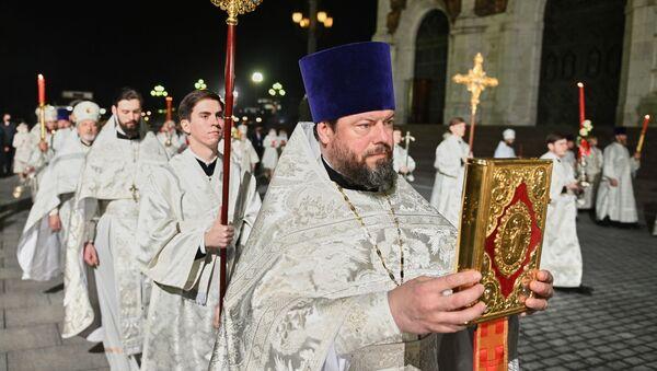 Vaskršnja služba u Hramu Hrista Spasitelja u Moskvi - Sputnik Srbija