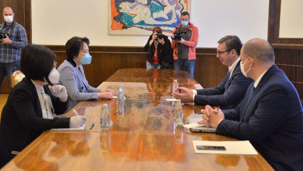 Састанак председника Србије Александра Вучића и амбасадорке Кине Чен Бо - Sputnik Србија