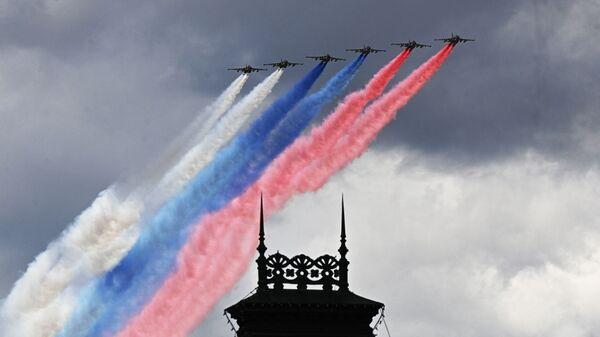 Авиони Су-25БМ изнад Москве током генералне пробе за Параду победе поводом 76. годишњице победе у Другом светском рату - Sputnik Србија
