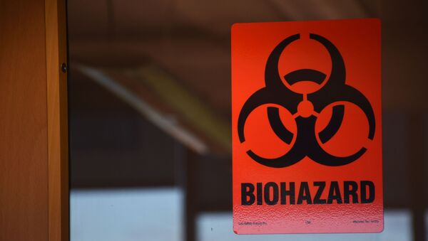 Znak za opasnost od biološkog oružja na vratima laboratorije u Gruziji - Sputnik Srbija
