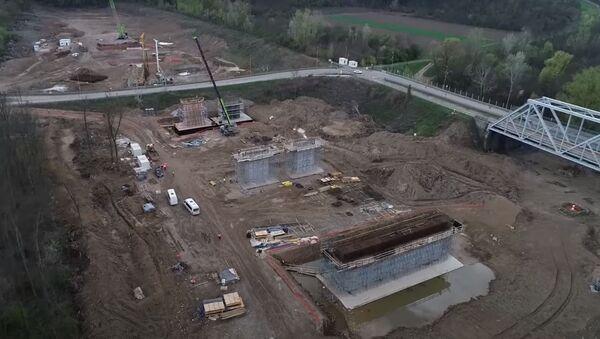 Gradilište novog mosta preko Save kod Sremske Rače - Sputnik Srbija