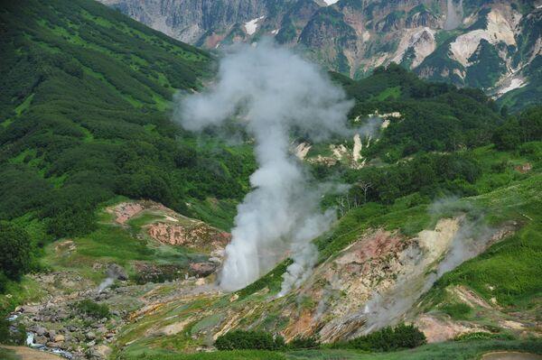 Erupcija gejzira Velikan u Dolini gejzira u Kronickom prirodnom rezervatu na Kamčatki  - Sputnik Srbija
