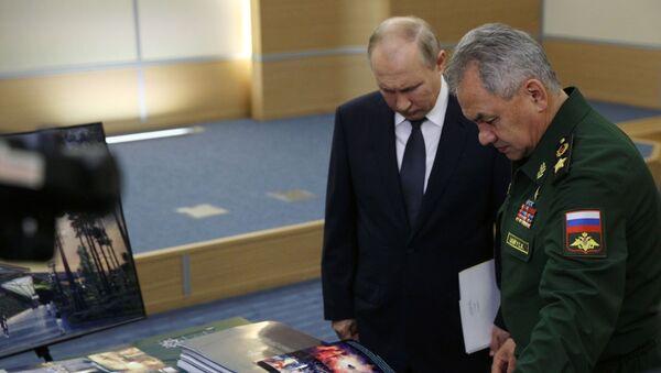Председник Русије Владимир Путин и министар одбране Сергеј Шојгу - Sputnik Србија