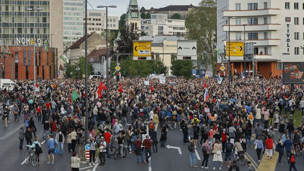 Protest u Ljubljani protiv vlade Janeza Janše - Sputnik Srbija