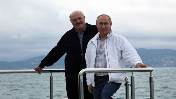 Predsednici Belorusije i Rusije, Aleksandar Lukašenko i Vladimir Putin, u Sočiju - Sputnik Srbija
