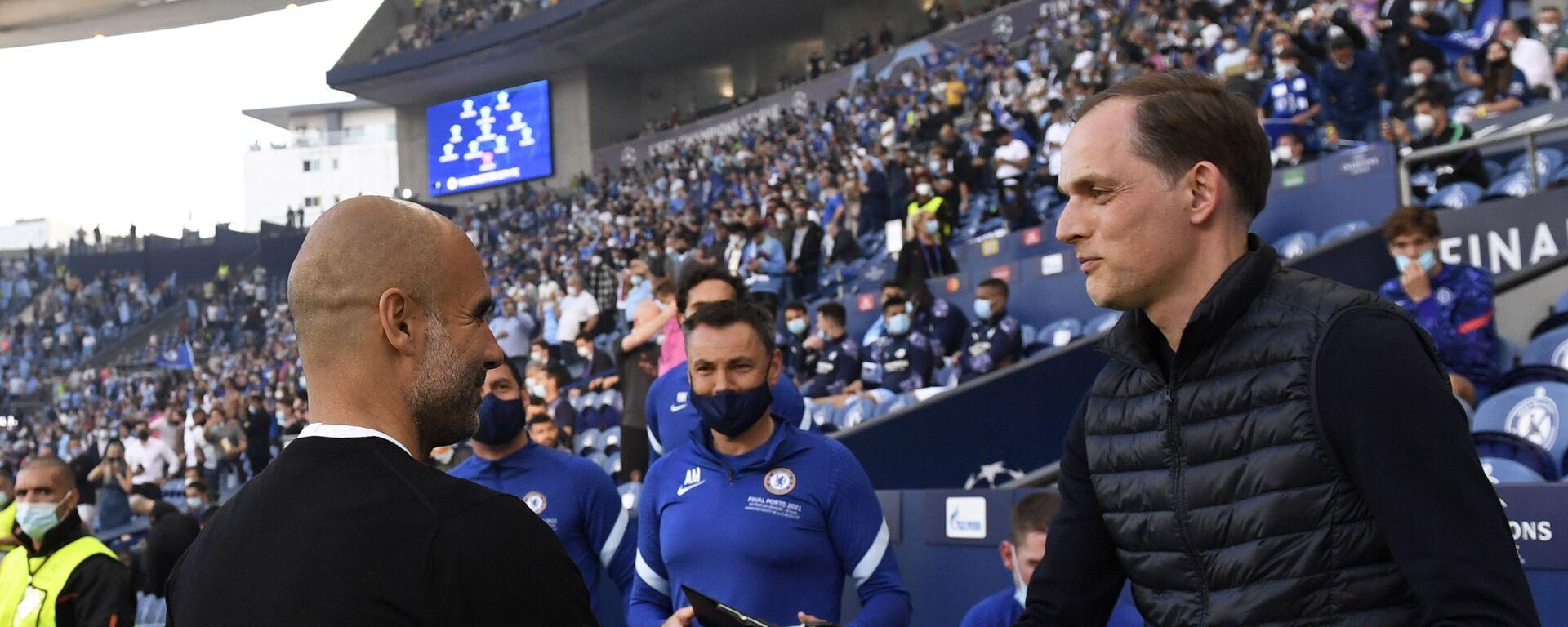 Пеп Гвардиола, менаџер Манчестер ситија, и Томас Тухел, менаџер Челсија, пред почетак финала Лиге шампиона - Sputnik Србија, 1920, 25.09.2021