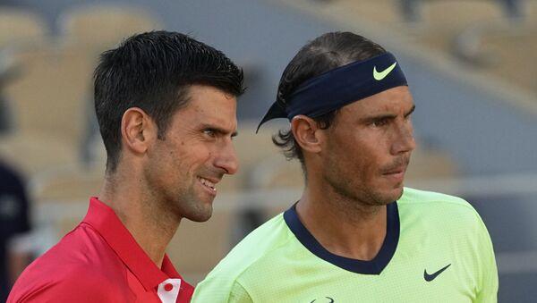 Novak Đoković i Rafael Nadal pred polufinale Rolan Garosa 2021. - Sputnik Srbija