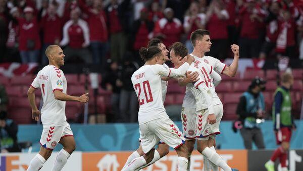 Fudbaleri Danske slave gol protiv Rusije – EURO 2020 - Sputnik Srbija