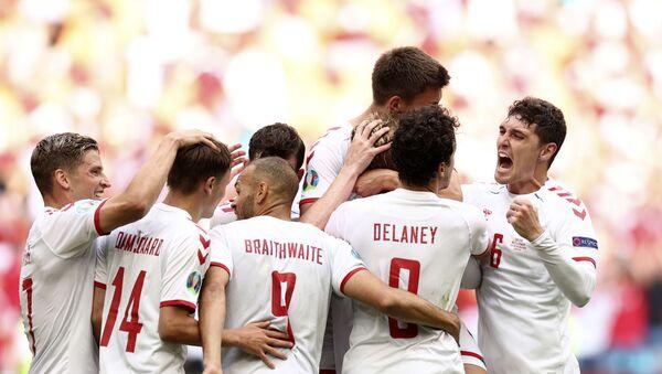 Fudbaleri Danske slave gol protiv Velsa – EURO 2020 - Sputnik Srbija