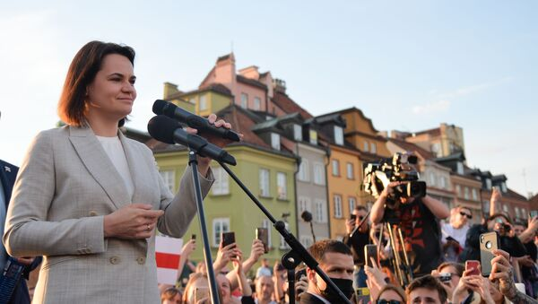 Лидер белоруске опозиције Светлана Тихановска на митингу белоруске заједнице у Варшави - Sputnik Србија