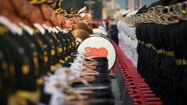 Военный оркестр на праздновании 100-летия Коммунистической партии Китая в Пекине - Sputnik Србија