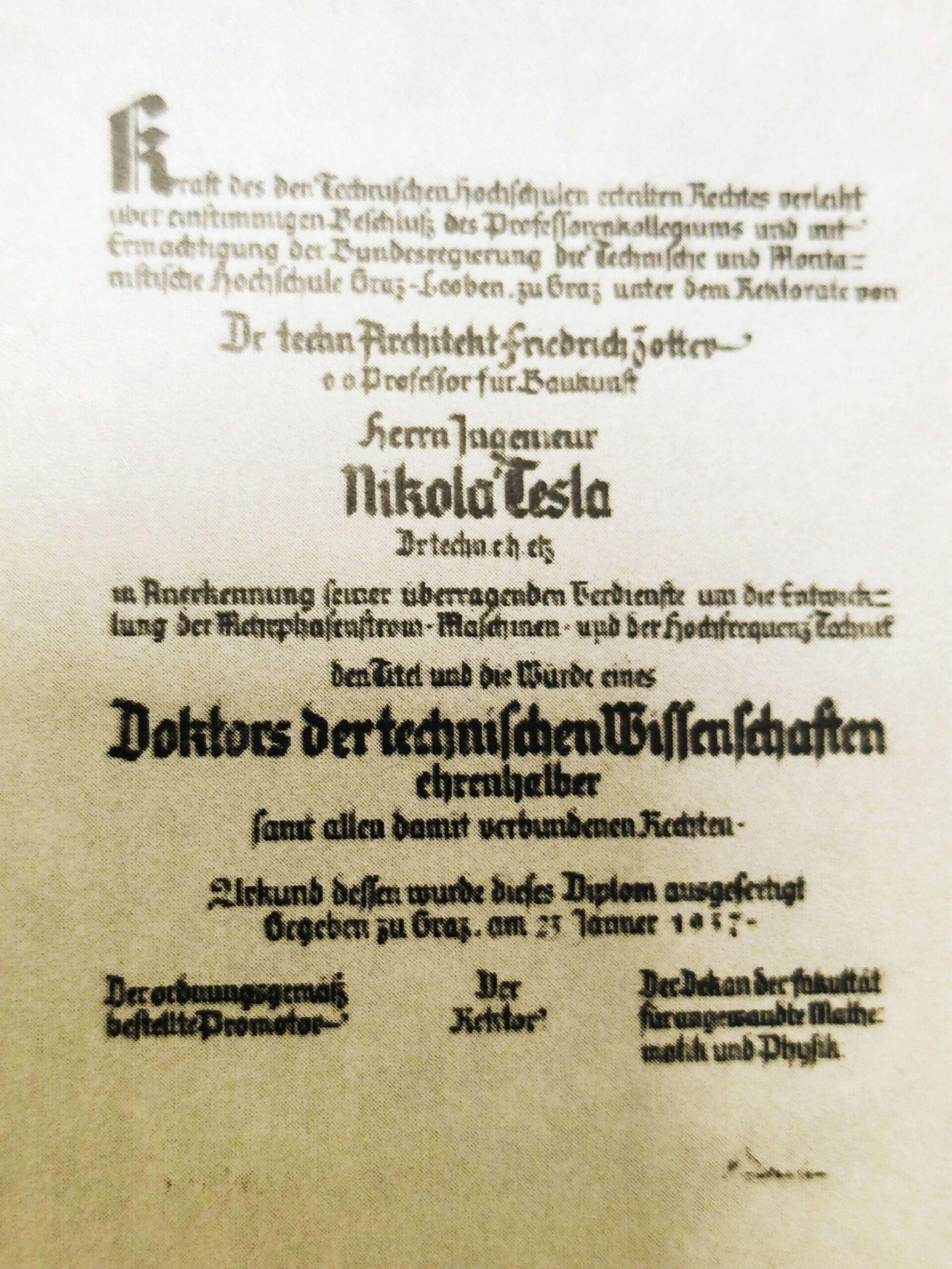 Потрвда о додели титуле и звања почасног доктора техничких наука Николи Тесли (Грац, 1937) - Sputnik Србија, 1920, 13.07.2021