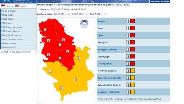 Crveni meteoalarm u Srbiji - Sputnik Srbija
