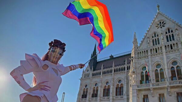 ЛГБТ активисти испред мађарског парламента - Sputnik Србија