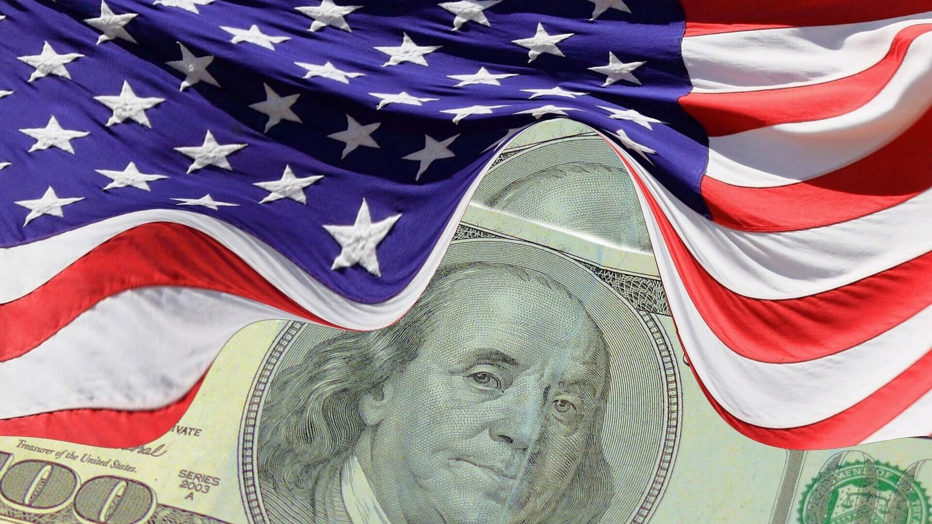 Dolar i američka zastava - Sputnik Srbija, 1920, 04.09.2021