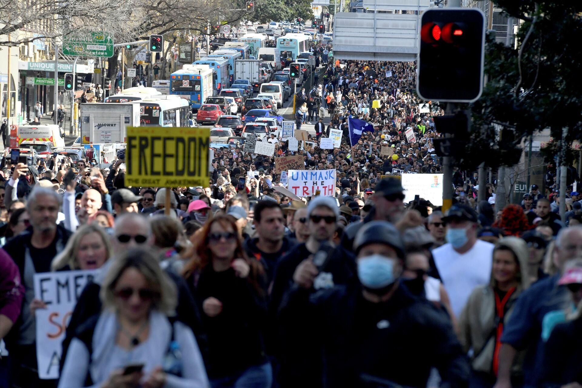 Protesti u Australiji protiv lokdauna - Sputnik Srbija, 1920, 08.10.2021