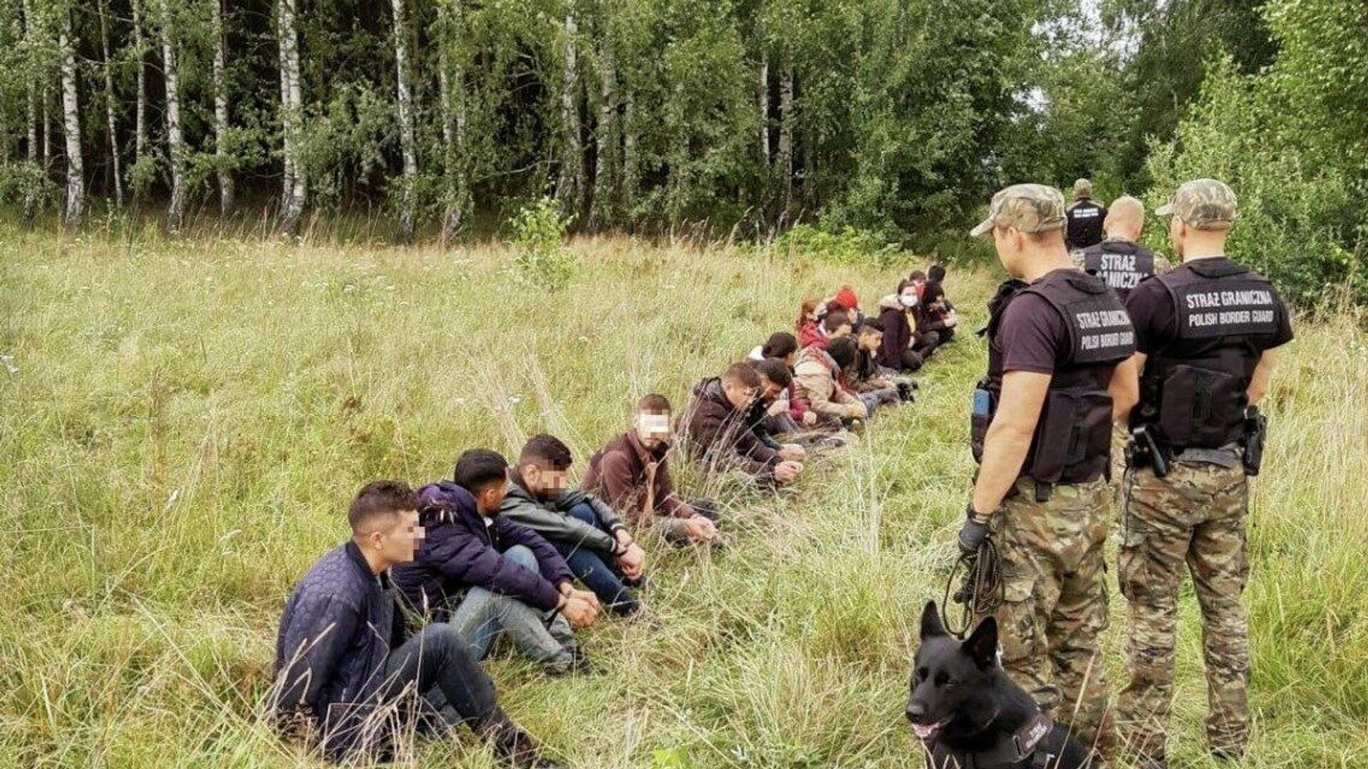 Poljska pogranična policija privodi migrante koji su pokušali da pređu granicu - Sputnik Srbija, 1920, 19.08.2021