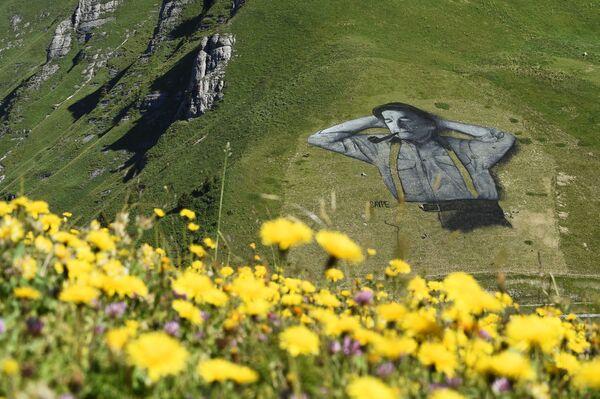 Слика у стилу ленд-арта француског сликара Сајпа на обронцима Шо де Мона у алпском одмаралишту Лезен - Sputnik Србија