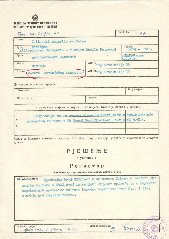 Решење о увођењу Цетињског манастира у Регистар споменика културе - Sputnik Србија, 1920, 08.09.2021