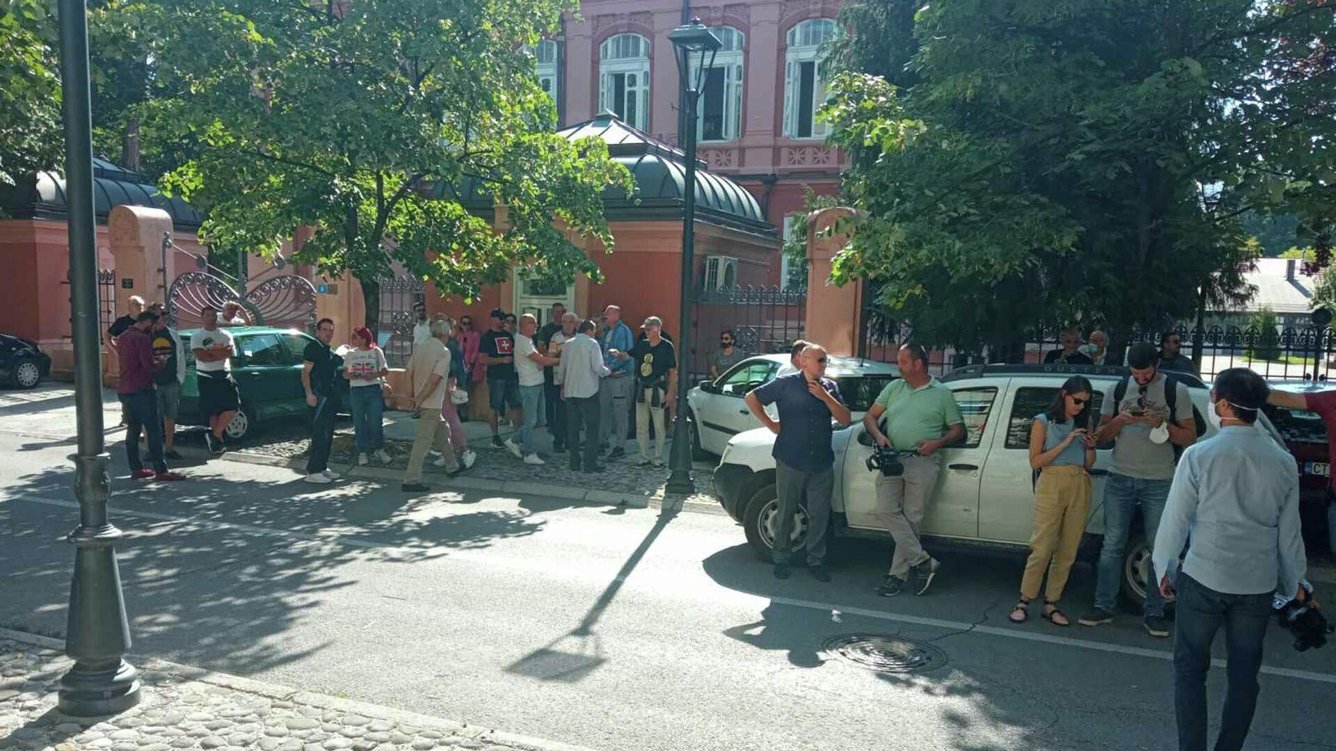 Група грађана Цетиња испред зграде Скупштине Пријестонице Цетиње - Sputnik Србија, 1920, 14.09.2021