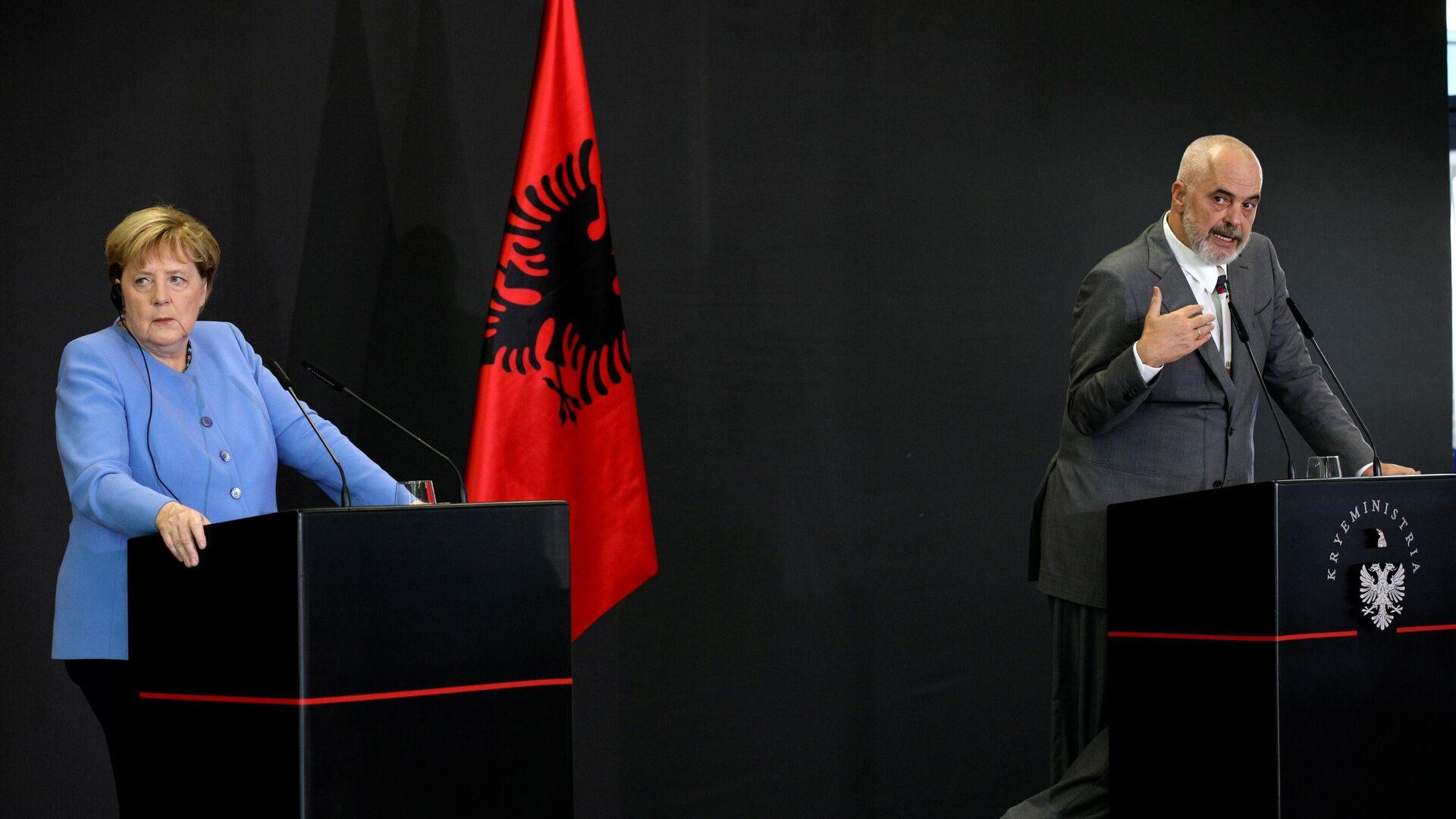 Немачка канцеларка Ангела Меркел и албански премијер Еди Рама - Sputnik Србија, 1920, 15.09.2021