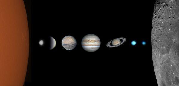 Ово је слика Сунца, Месеца и планета Сунчевог система (осим Земље) снимљена током године пацова у Кини. У овој посебној години, фотограф је имао велику срећу што је направио слике ових небеских тела, а за студента који се астрофотографијом бави само једну годину то је било велико постигнуће.Yongtai, Fujian, Кина, 14. август 2020. - 21. јануар 2021. - Sputnik Србија