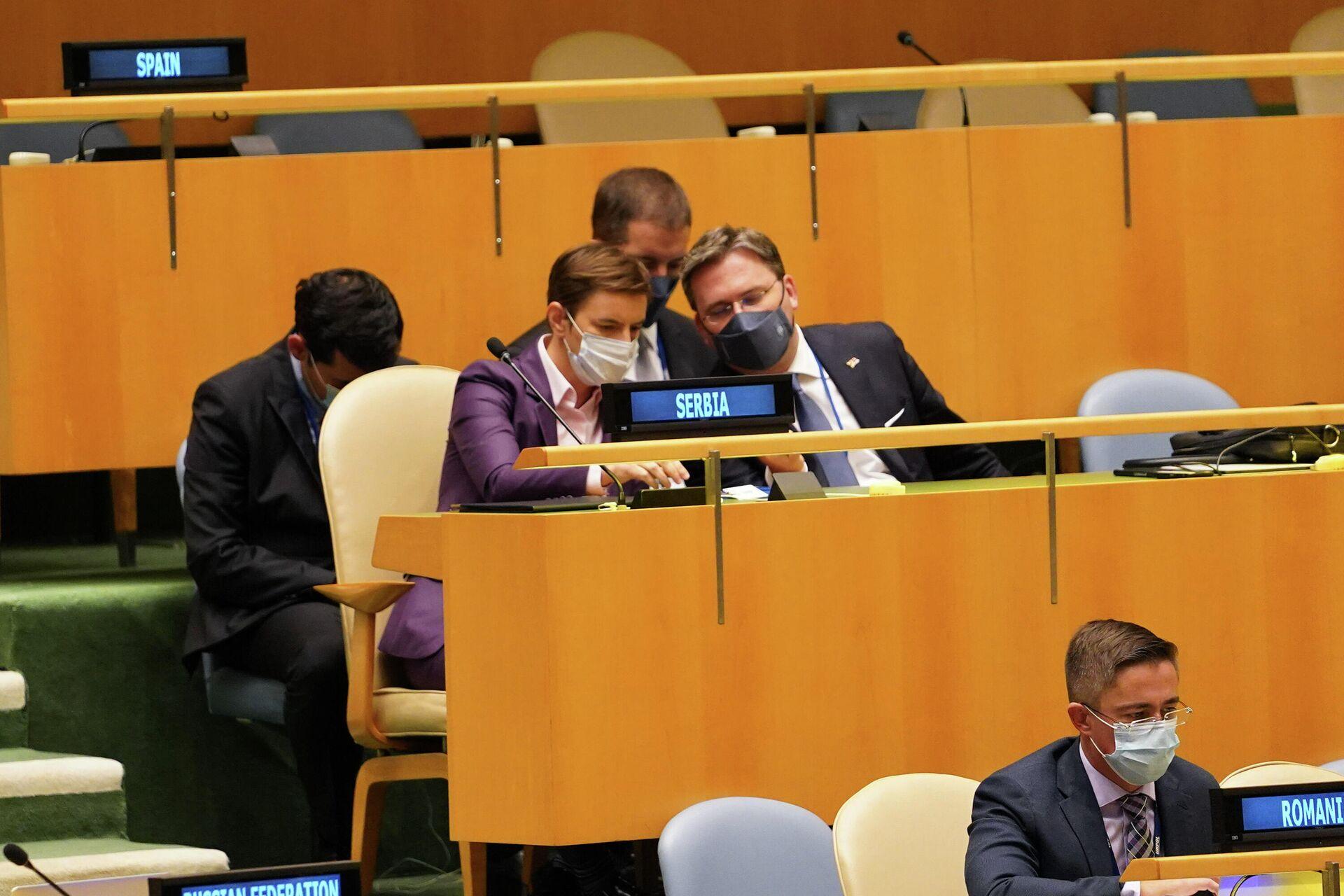 Ana Brnabić i Nikola Selaković na sednici Generalne skupštine UN - Sputnik Srbija, 1920, 25.09.2021