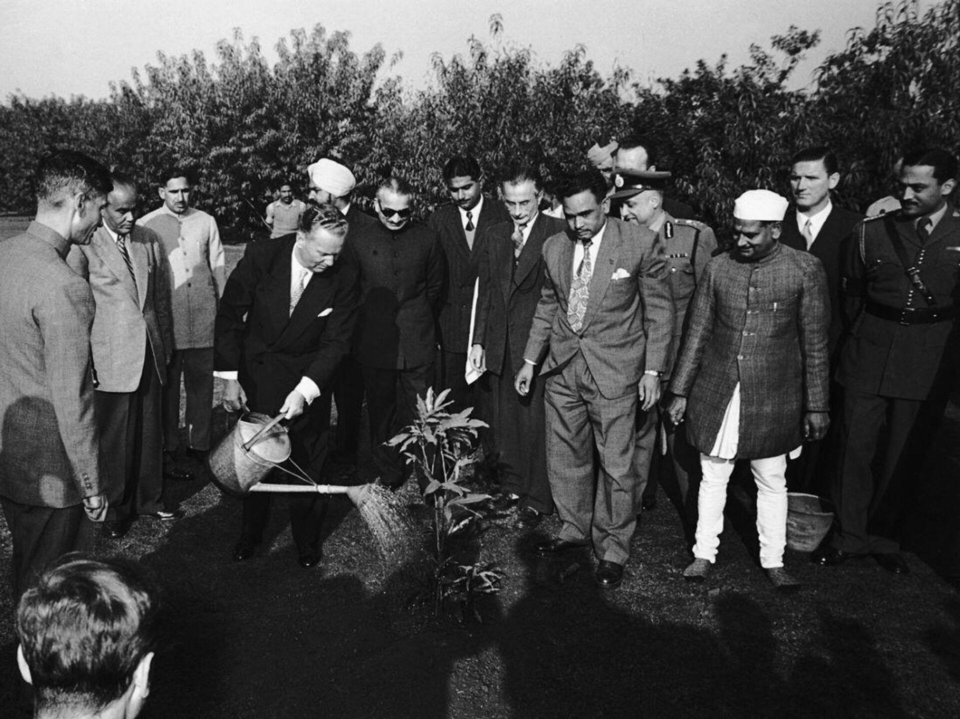 Josip Broz Tito sadi mladicu Ašok drveta u vrtu Radž Gata, mestu kremacije Mahatme Gandija,  Nju Delhi, 18. 12. 1954. - Sputnik Srbija, 1920, 25.09.2021