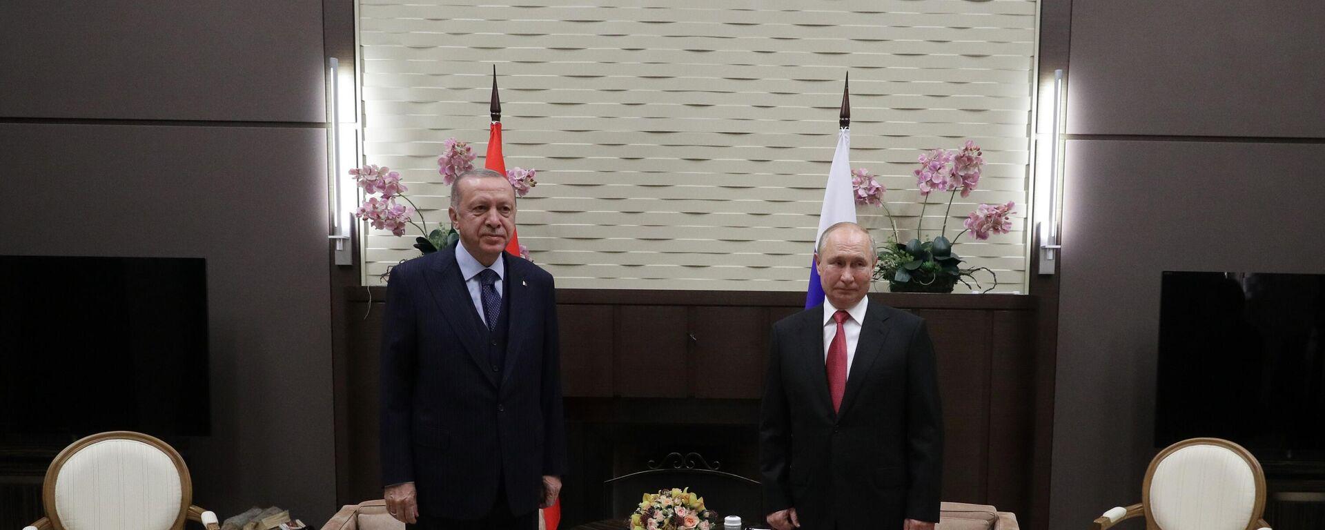 Председници Русије и Турске, Владимир Путин и Реџеп Тајип Ердоган - Sputnik Србија, 1920, 30.09.2021