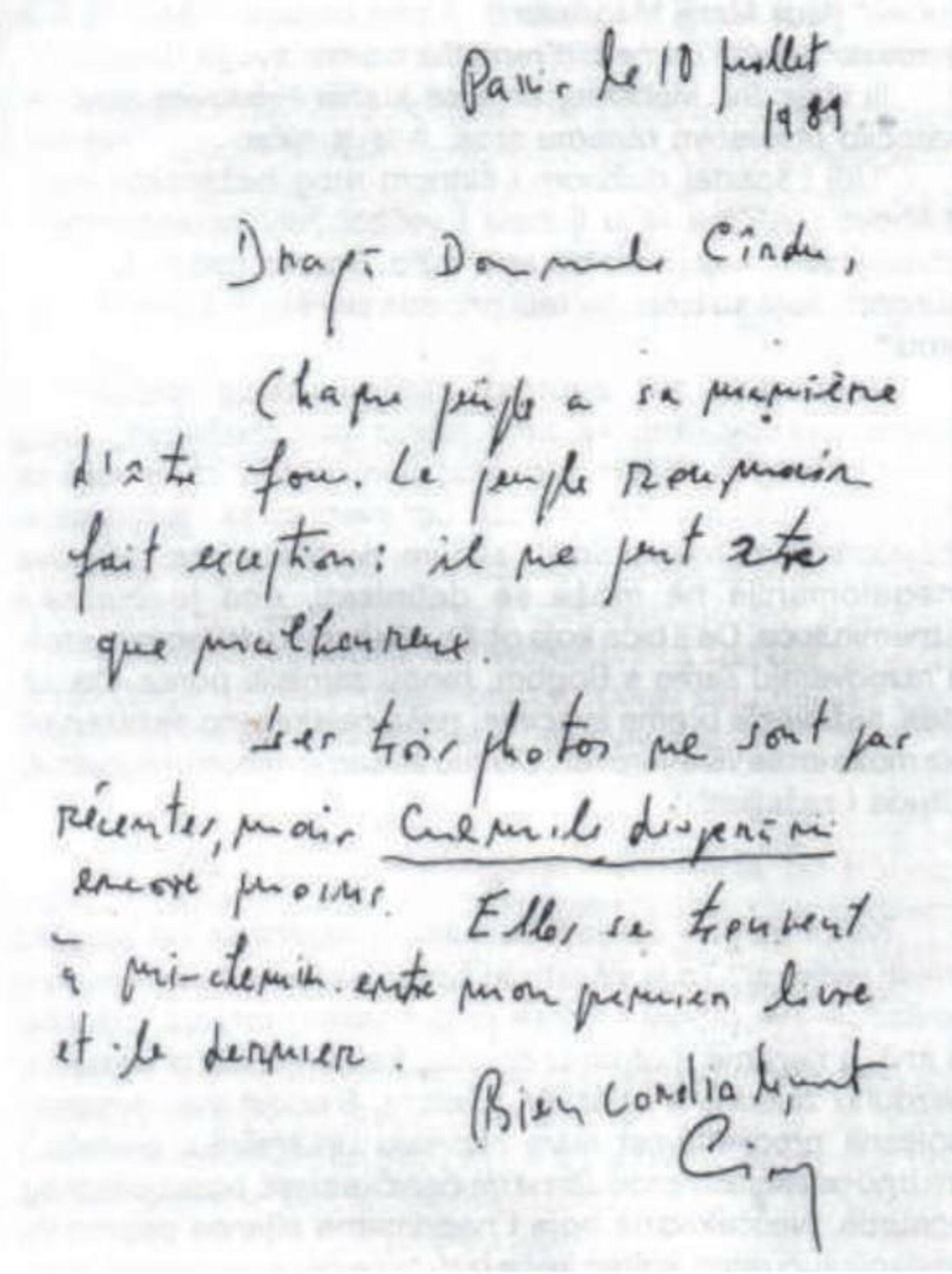 Факсимил Сиорановог писма Петру Крдуу - Sputnik Србија, 1920, 01.10.2021