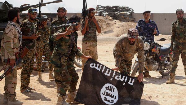Iračka vojska sa zaplenjenom zastavom terorističke organizacije Islamska država - Sputnik Srbija